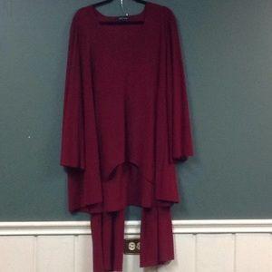 Slinky Brand burgundy pants suit